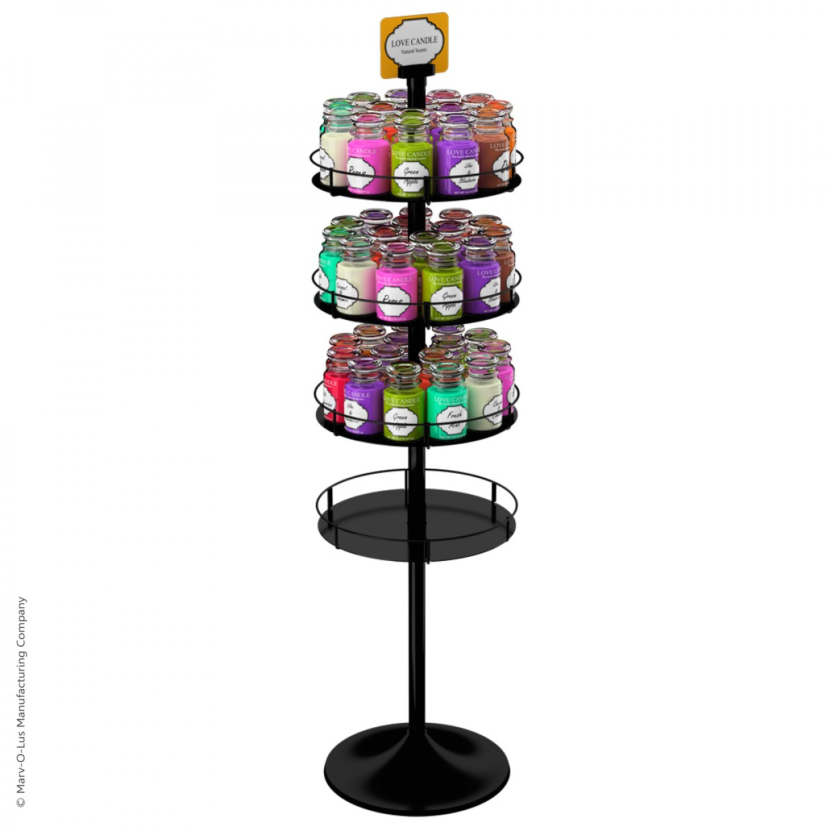 Exhibition Stand Round : Heavyweight floor display stand with round metal trays