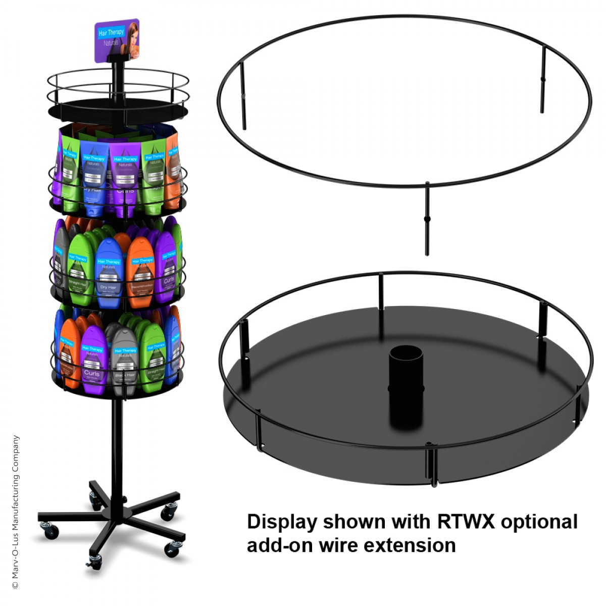 Heavyweight Floor Display Stand With 4 Round Metal Trays