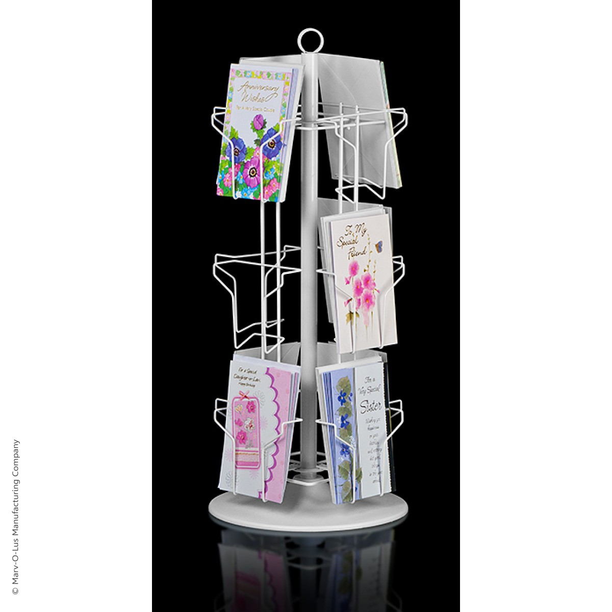 12 Pocket Countertop Greeting Card Display Spinner Rack White