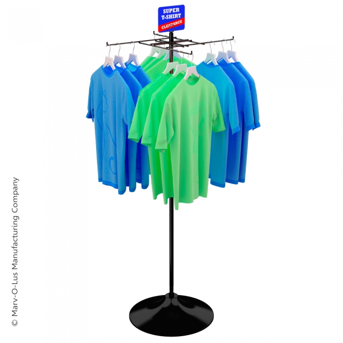 4-Hook Economical T-Shirt Display on Round Floor Base