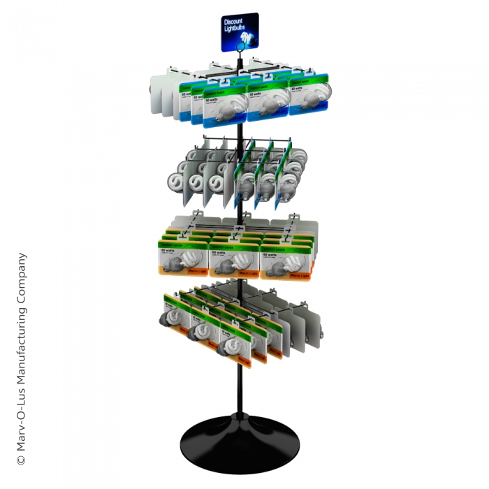 "24-Hook Economical Display for Hanging Merchandise up to 7.25"" Wide (Plastic Floor Base)"