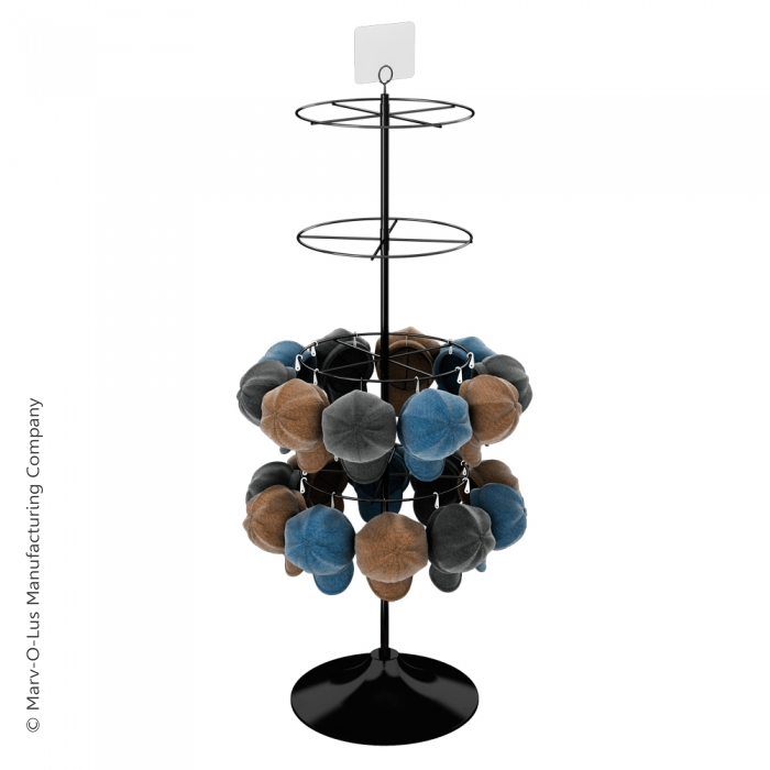 "Display with Four 16"" Diameter Ring Tiers for Hanging Merchandise (Plastic Floor Base)"