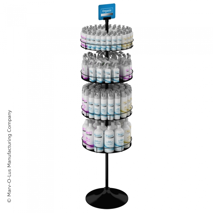 Floor Display Stand with 4 Round Metal Trays (Round Base)