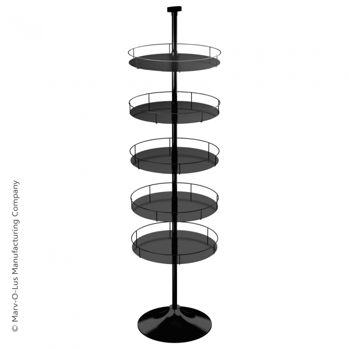 Floor Display Stand with 5 Round Metal Trays (Round Base)