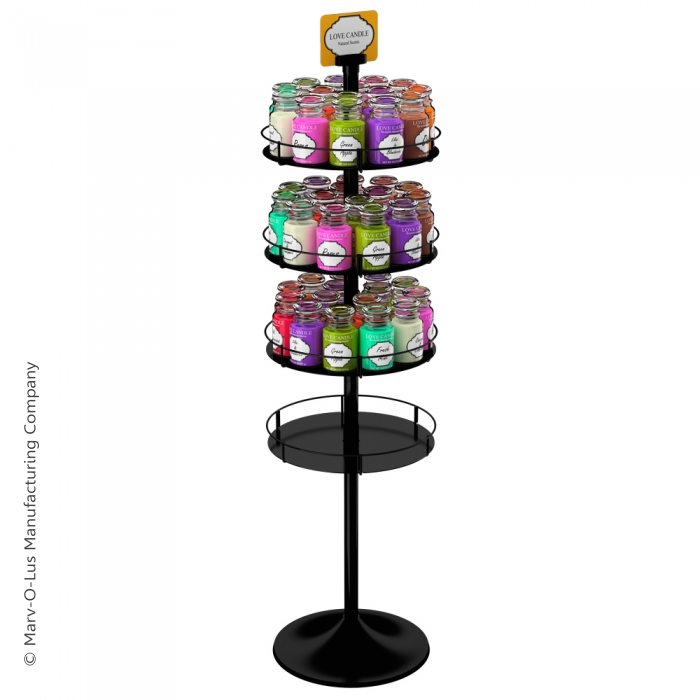 Heavyweight Floor Display Stand with 4 Round Metal Trays (Round Base)