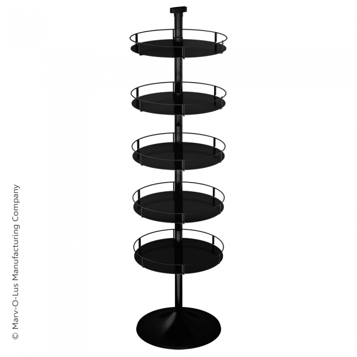 Heavyweight Floor Display Stand with 5 Round Metal Trays (Round Base)