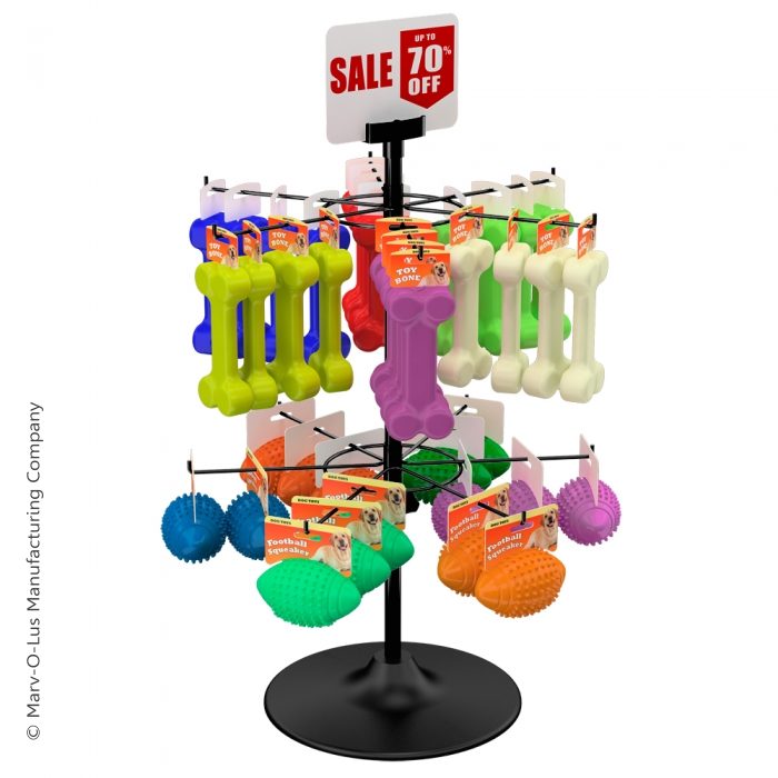 """12-Hook Economical Countertop Display for Hanging Merchandise up to 5"""" Wide"""