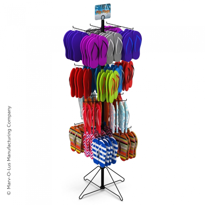 "24-Hook Floor Display for Merchandise up to 7.5"" Wide (Wire Base)"