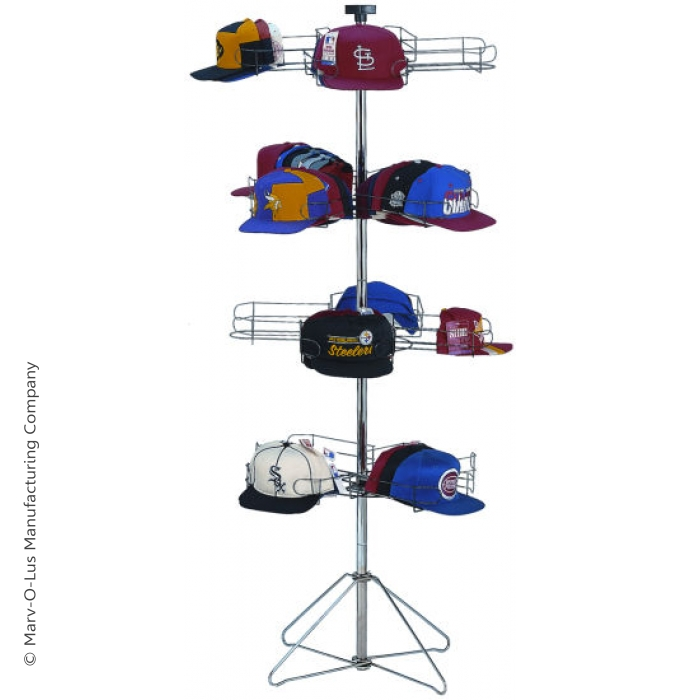 16-Pocket Cap-A-Rama Floor Spinner Rack for Baseball Caps (Silver)