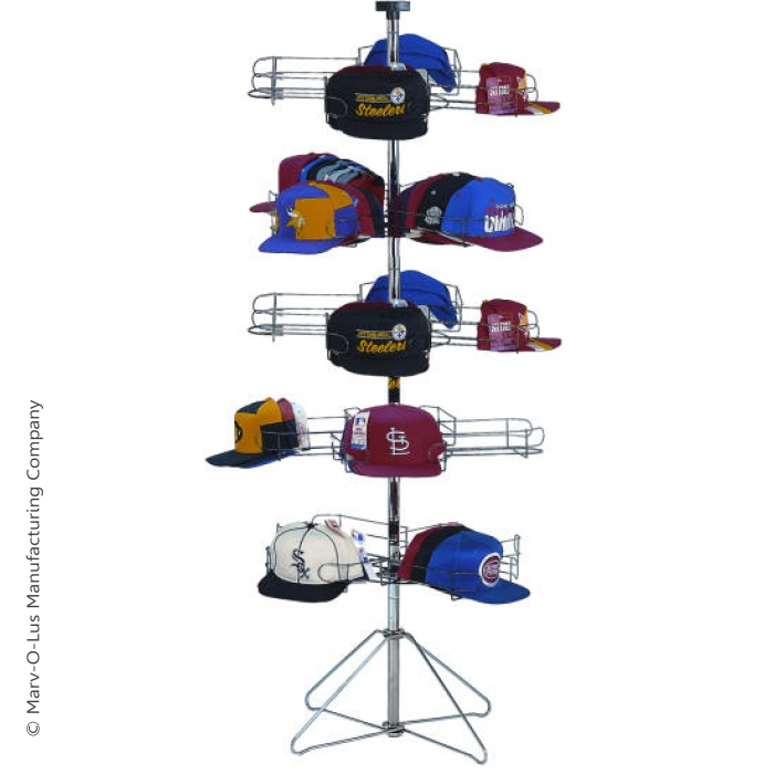 20-Pocket Cap-A-Rama Floor Spinner Rack for Baseball Caps (Silver)