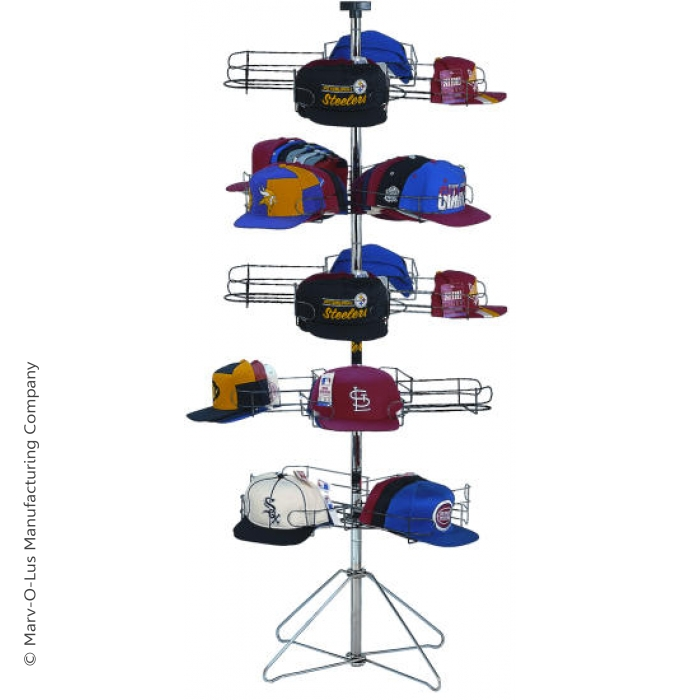 20-Pocket Cap-A-Rama Floor Spinner Rack for Baseball Caps (Black Tiers & Silver Base Setup)