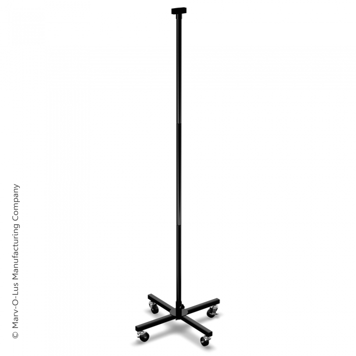 Medium-Duty Steel Floor X-Base with Casters & Display Tubes (Black)