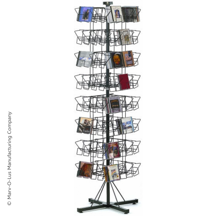 64-Pocket CD Floor Display Spinner Rack