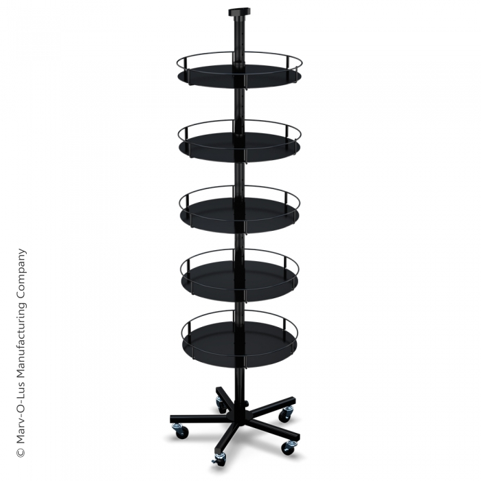 Heavyweight Floor Display Stand with 5 Round Metal Trays (5-Leg Caster Base)