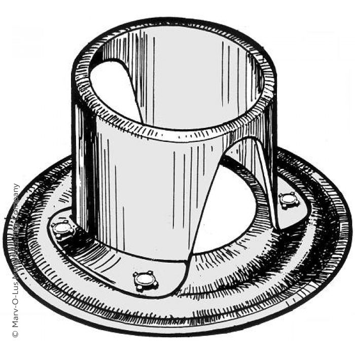 """2-piece Flanged Tube for 1"""" Diameter Tubes (3"""" O.D.)"""