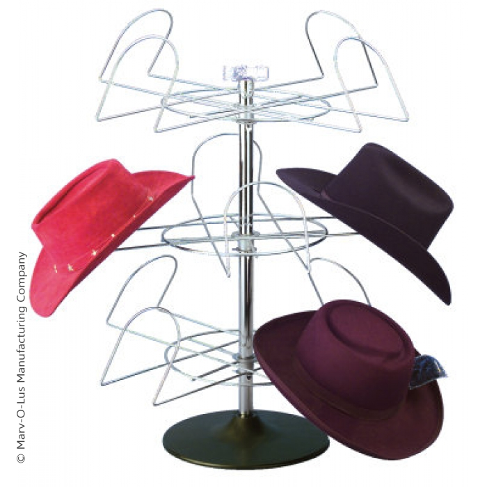 12-Hat Western Style Cowboy Hat Spinner Rack for Countertop Display
