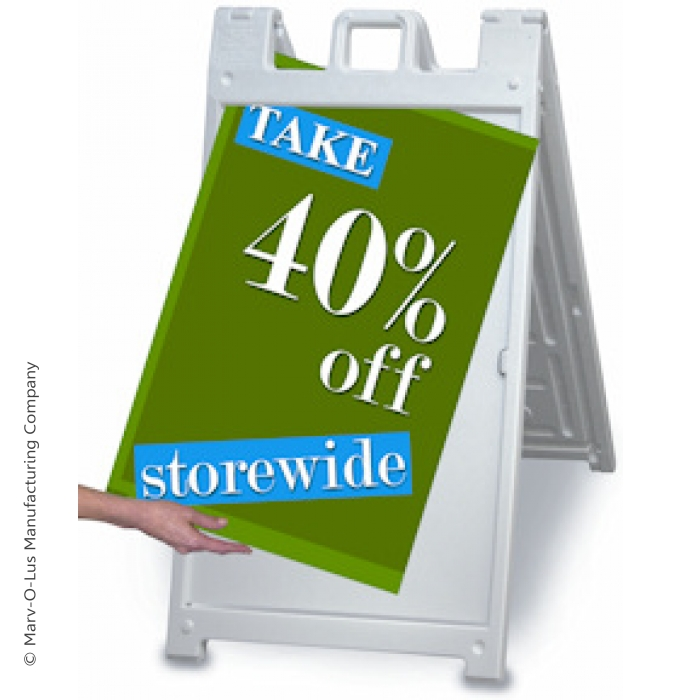 "24"" x 36"" Quick-Change A-Frame Sidewalk Sign (White)"