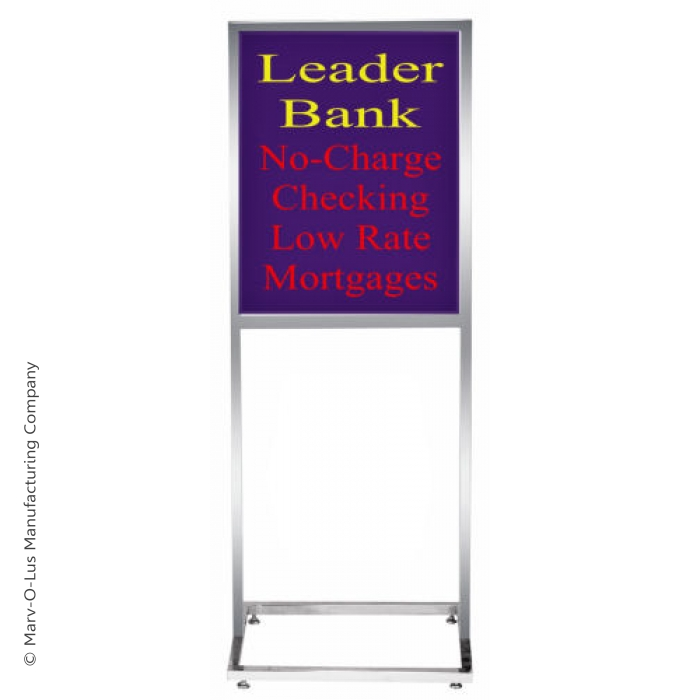 "14"" x 22"" Deluxe Poster Frame Bulletin Sign Stand (Chrome)"
