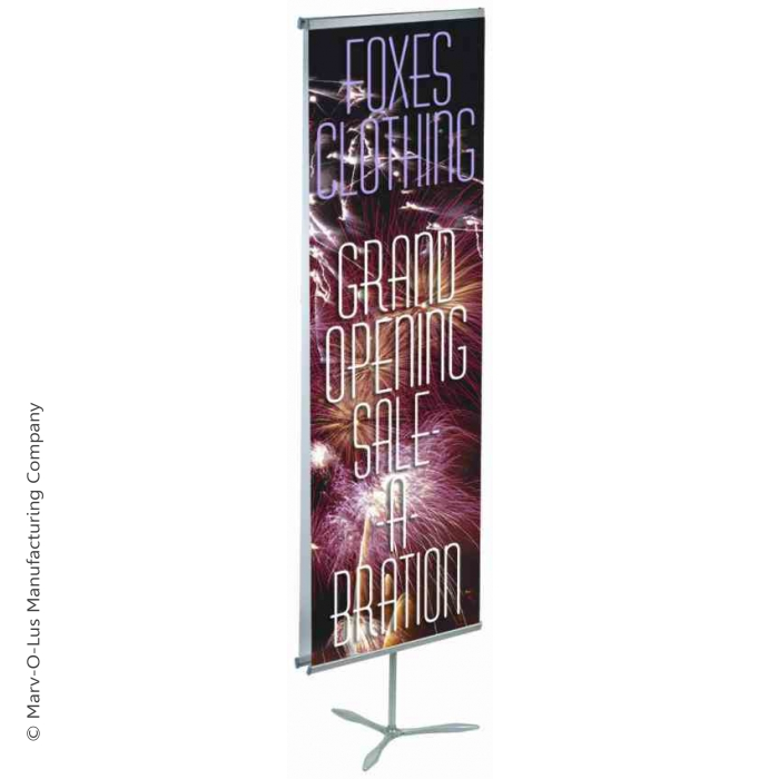 "Propeller Travel Banner Stand for  31.5"" Wide Banners, with Case (Silver)"