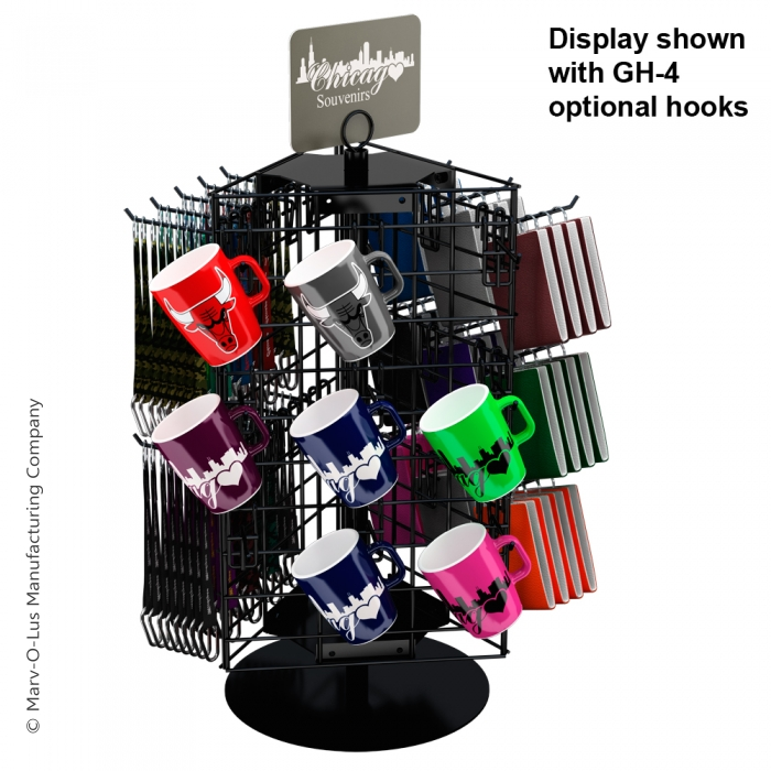 """3-Sided 21"""" x 12"""" Wire Grid Panel Countertop Spinner Display"""