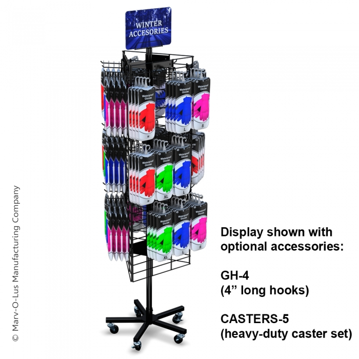 """3-Sided 48"""" x 16"""" Wire Grid Panel Floor Spinner Display"""