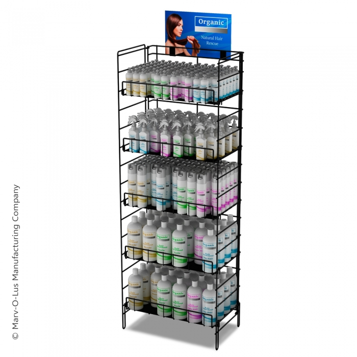"Fold-Up Floor Display (24"" Wide) with 5 Reinforced Shelves"