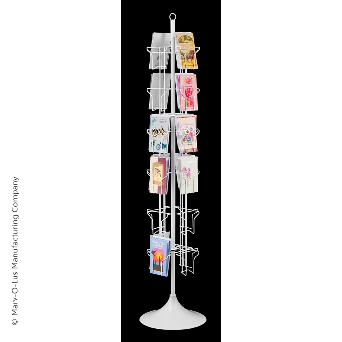 24-Pocket Floor Greeting Card Display Spinner Rack (White)
