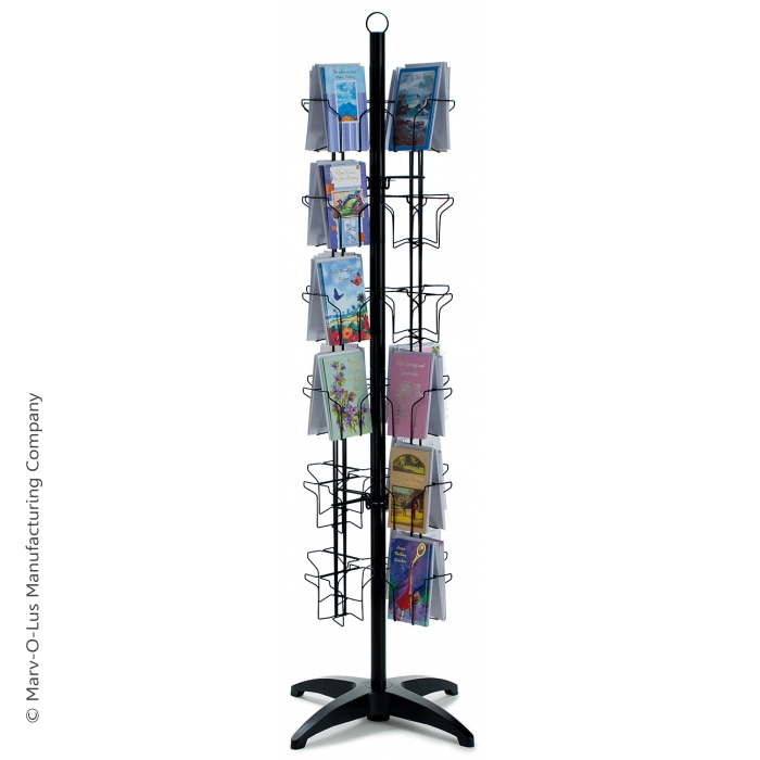 48-Pocket Floor Greeting Card Display Spinner Rack (Black)