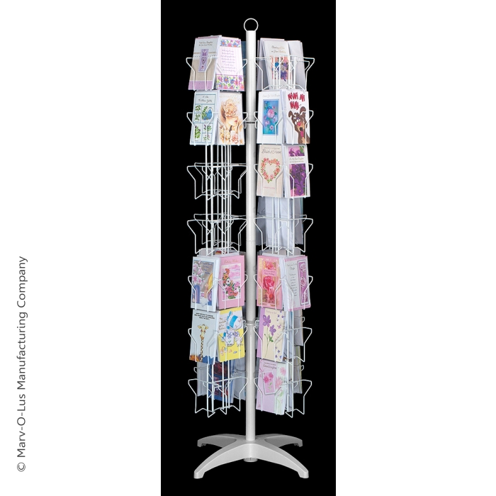 84-Pocket Floor Greeting Card Display Spinner Rack (White)