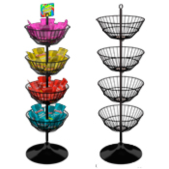 "Economical Dump Bin Display with Four 18"" Diameter Baskets (Round Floor Base)"