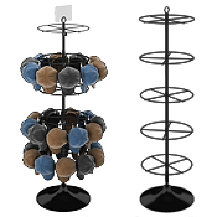 "Display with Five 16"" Diameter Ring Tiers for Hanging Merchandise (Plastic Floor Base)"