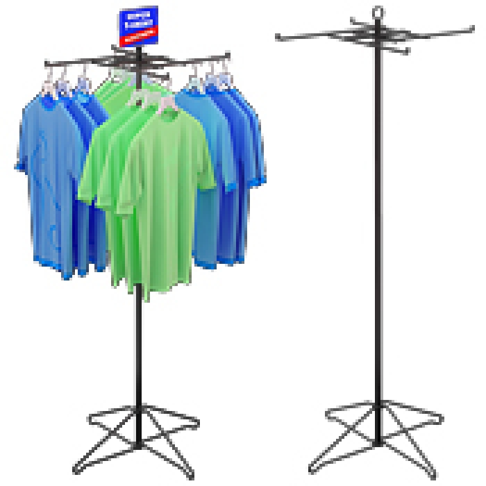 4-Hook Economical T-Shirt Floor Display Rack