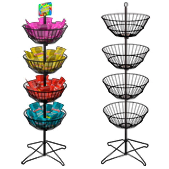 "Economical Dump Bin Floor Display with Four 18"" Diameter Spinner Baskets"