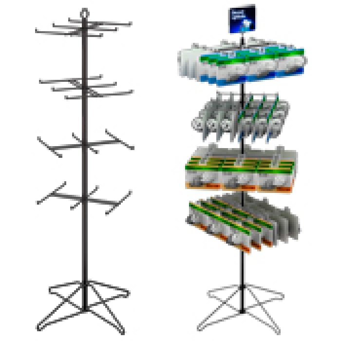 "24-Hook Economical Floor Display for Hanging Merchandise up to 7.25"" Wide"