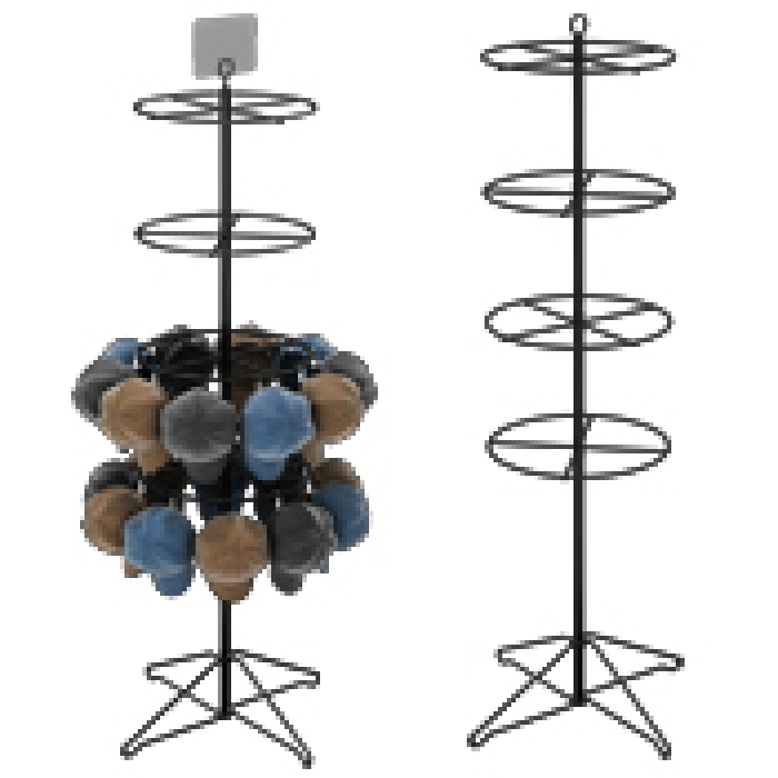 "Floor Display with Four 16"" Diameter Ring Tiers for Hanging Merchandise"