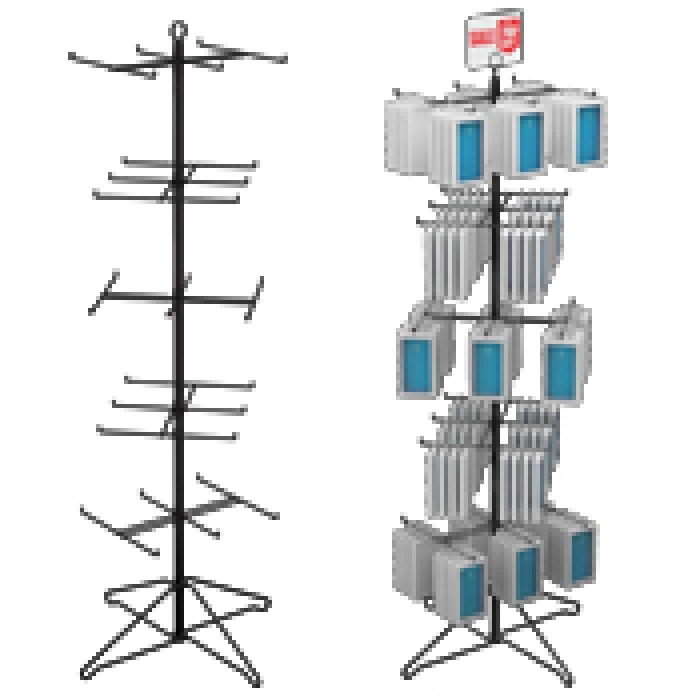 "30-Hook Economical Floor Display for Hanging Merchandise up to 7.25"" Wide"