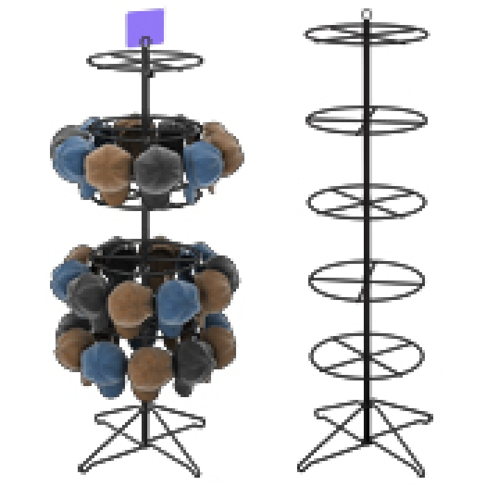 "Floor Display with Five 16"" Diameter Ring Tiers for Hanging Merchandise"