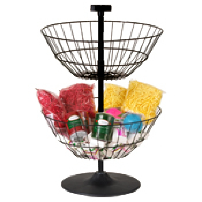 "Economical Dump Bin Countertop Display with Two 18"" Diameter Spinner Baskets"
