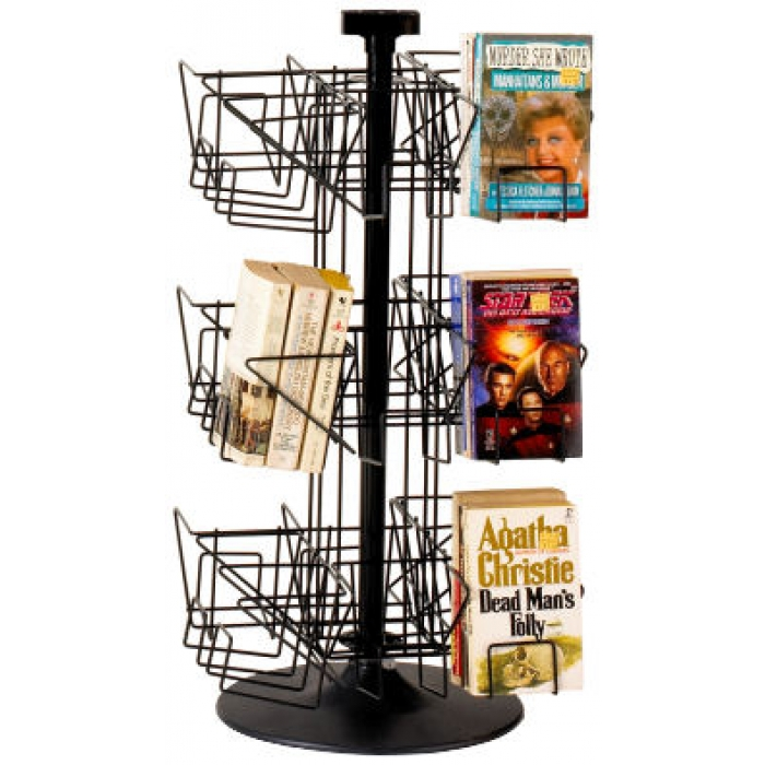 24-Pocket Countertop Spinner Rack for Paperback Books