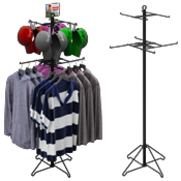 8-Hook Floor Combo-Display for T-Shirts & Accessories