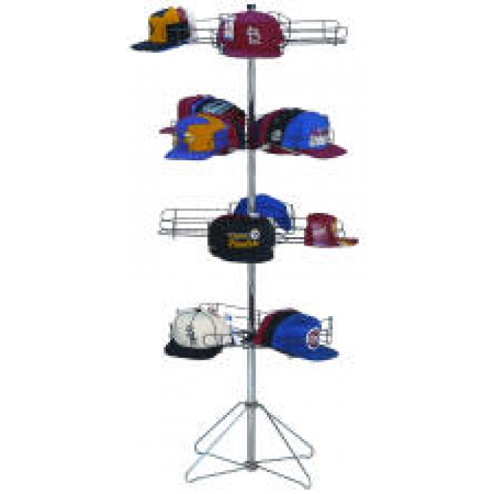 16-Pocket Cap-A-Rama Floor Spinner Rack for Baseball Caps (Black Tiers & Silver Base Setup)