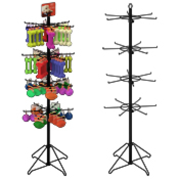 "24-Hook Floor Display for Merchandise up to 5"" Wide (Wire Base)"