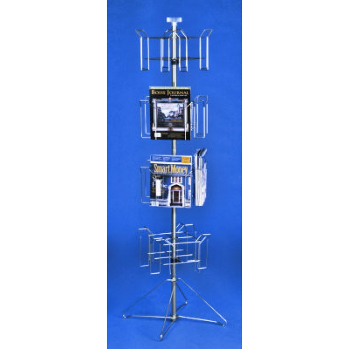 "16-Pocket Floor Spinner Rack for 8.5""W x 11""H Literature"