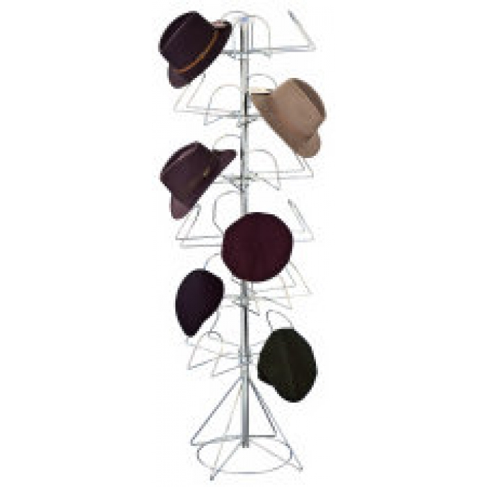 24-Hat Men's Floor Display Spinner Rack