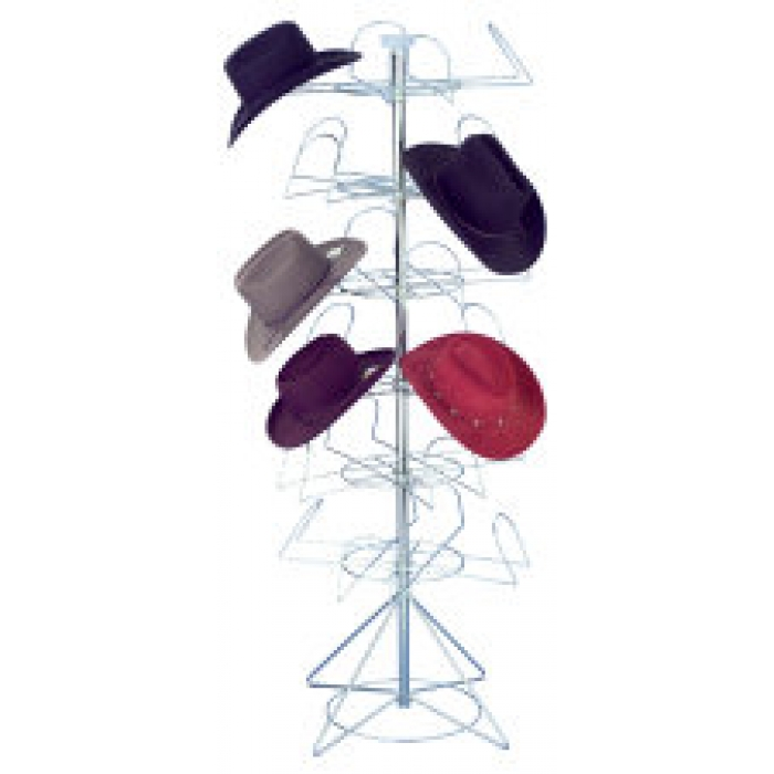 24-Hat Western Style Cowboy Hat Spinner Rack for Floor Display