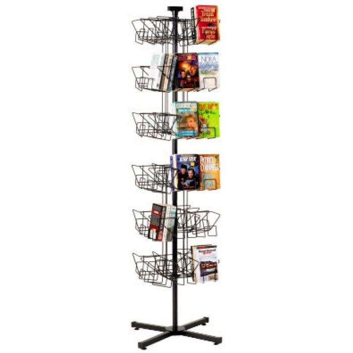48-Pocket Book Spinner Display Stand for Floor