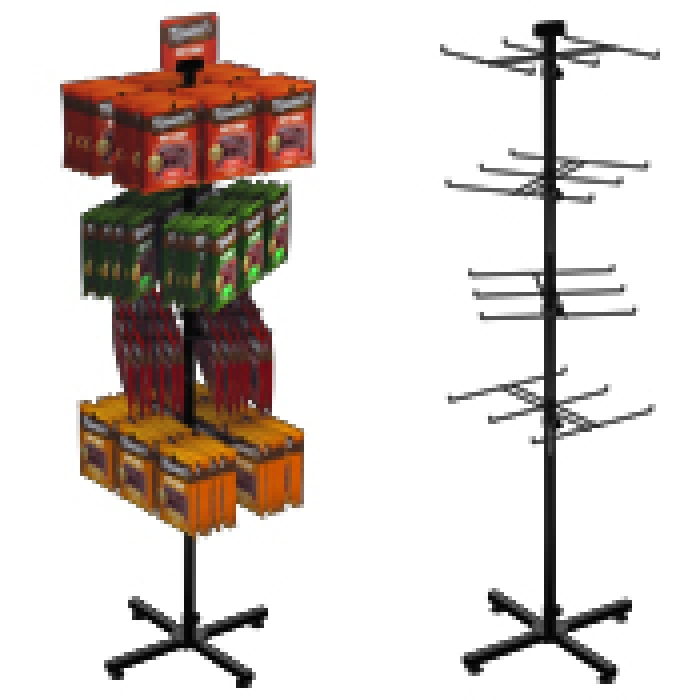 "24-Hook Floor Display for Merchandise up to 7.5"" Wide (Steel X-base)"