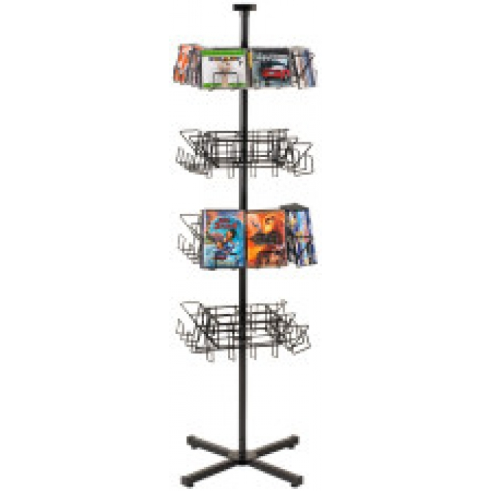 32-Pocket Economical CD/DVD Floor Display Spinner Rack