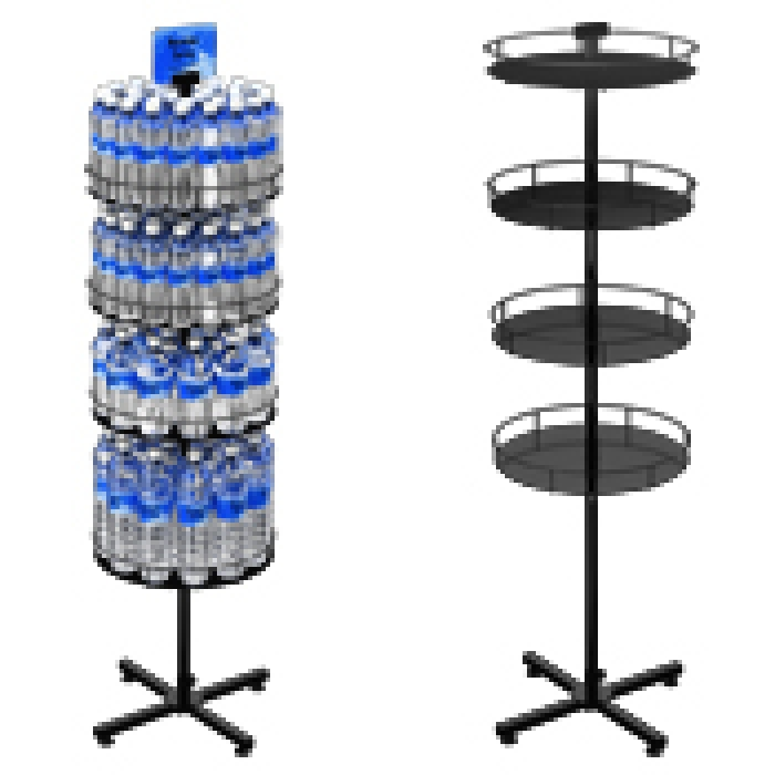 Floor Display Stand with 4 Round Metal Trays (Steel X-base)