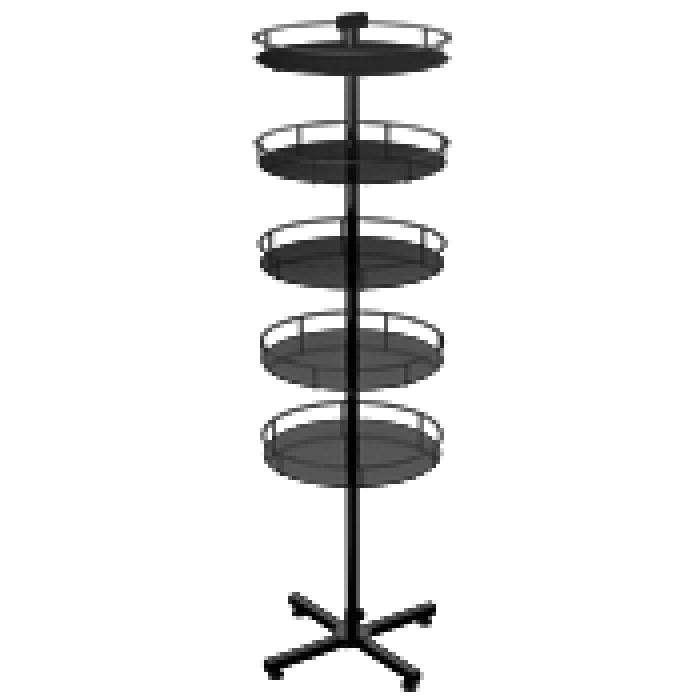 Floor Display Stand with 5 Round Metal Trays (Steel X-base)